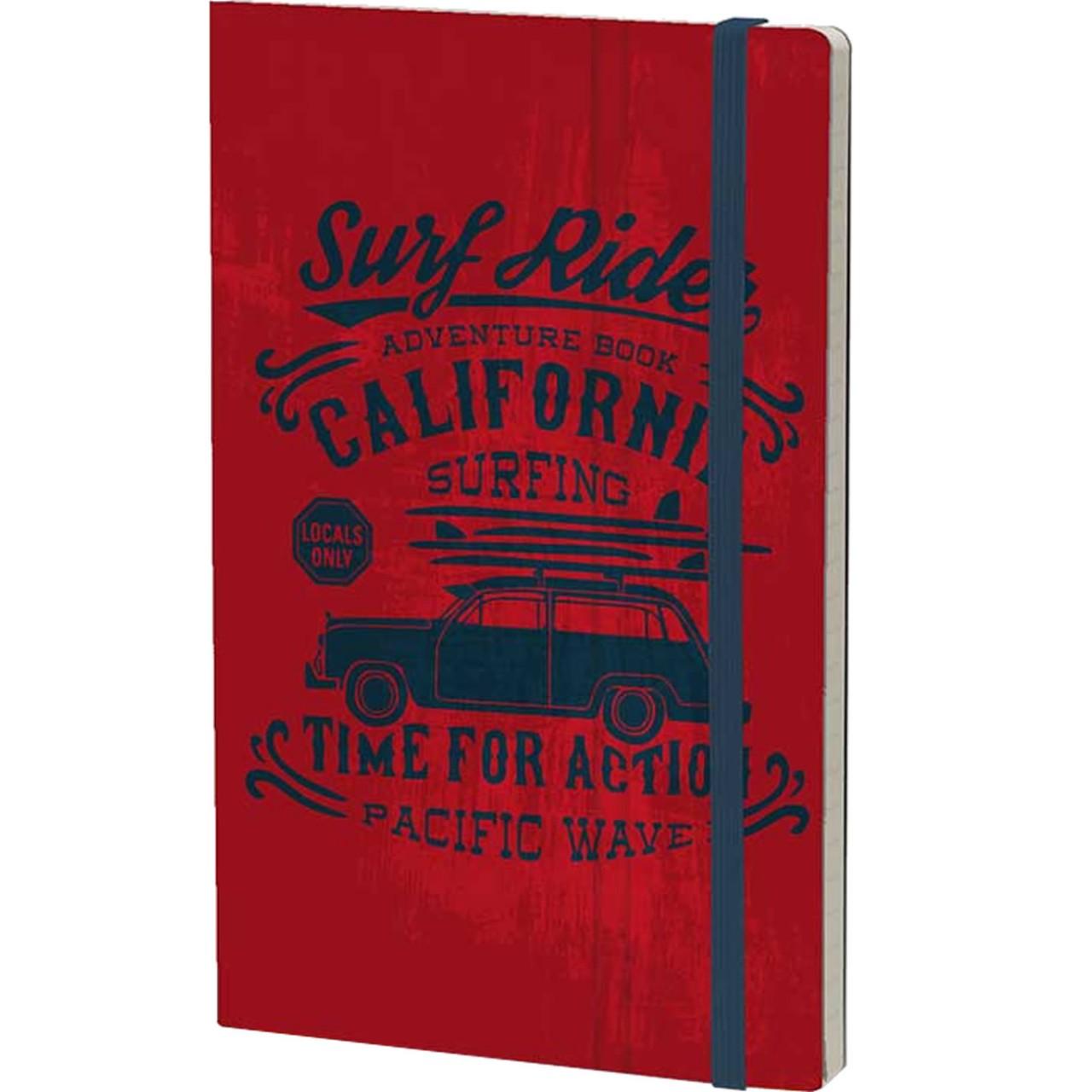 Stifflexible Notizbuch VINTAGE SURFING (Adventure) 13 x 21 cm 192 S., RED