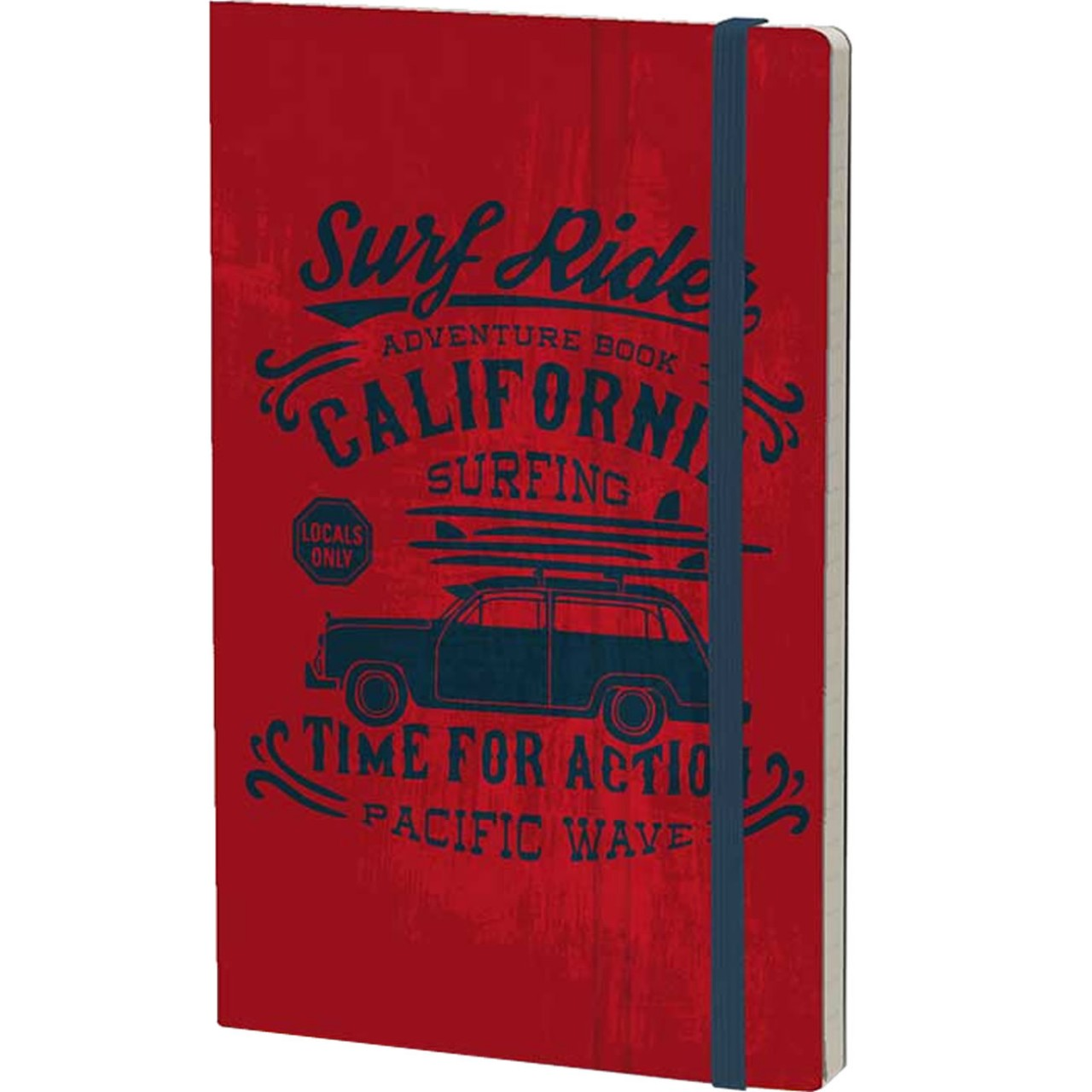 Stifflexible Notizbuch VINTAGE SURFING (Adventure) 9 x 14 cm 144 S., RED