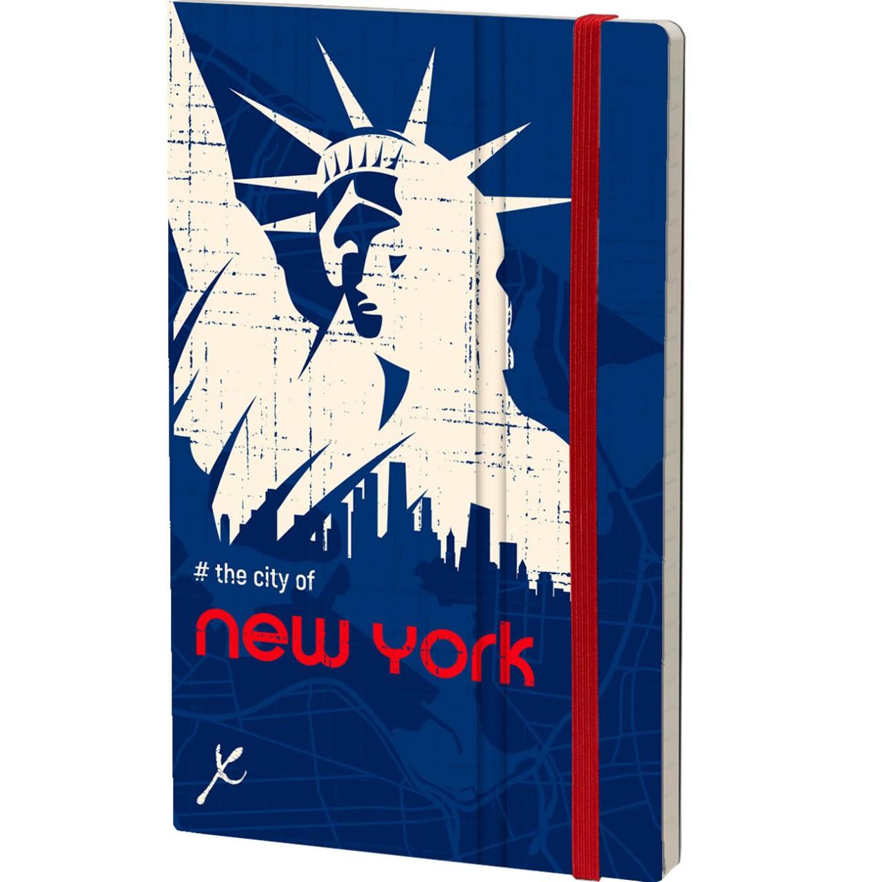 Stifflexible Notizbuch URBANHOOD 13 x 21 cm 192 S., THE CITY OF NEW YORK