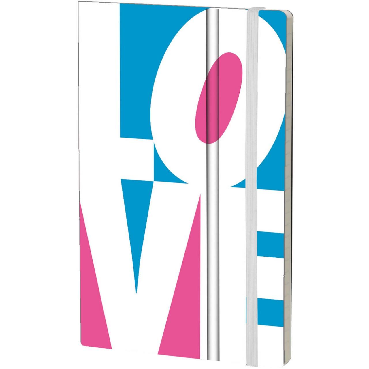 Stifflexible Notizbuch FLUO LOVE 13 x 21 cm 192 S., WHITE