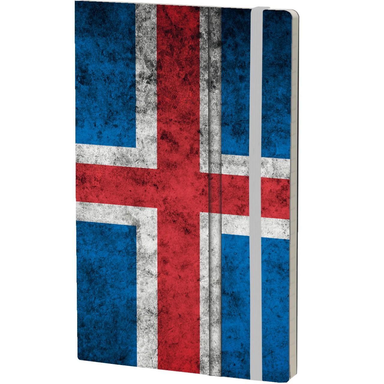 Stifflexible Notizbuch HISTORICAL NOTES 13 x 21 cm 192 S., LANDI ELDS OG ÍSA (Iceland Flag)