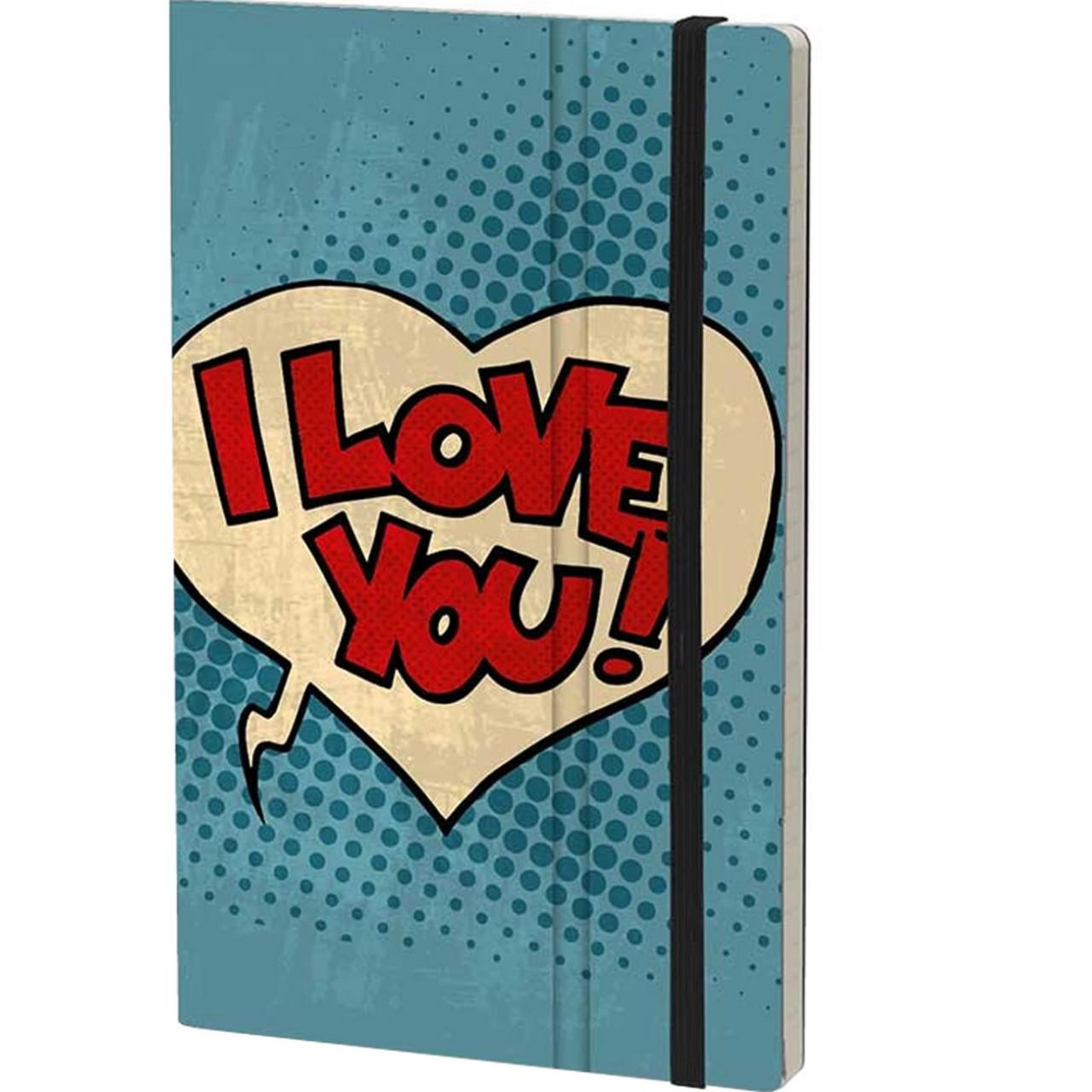 Stifflex Notizbuch POP 9 x 14 cm 144 S., I LOVE YOU!
