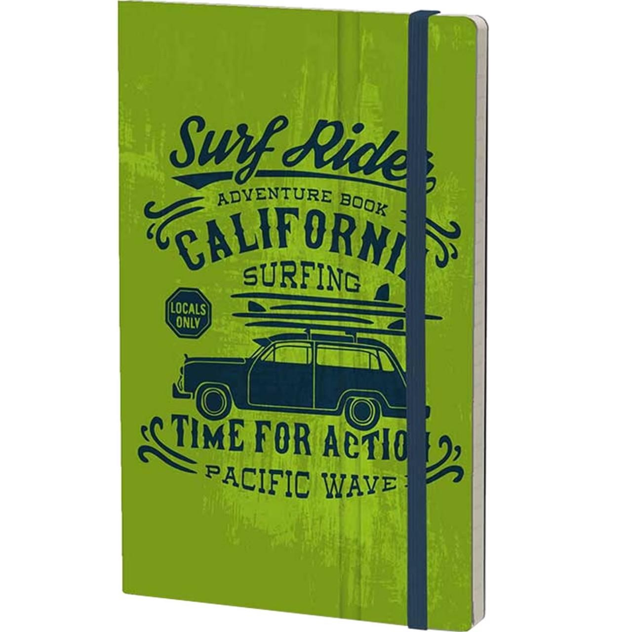 Stifflexible Notizbuch VINTAGE SURFING (Adventure) 13 x 21 cm 192 S., GREEN