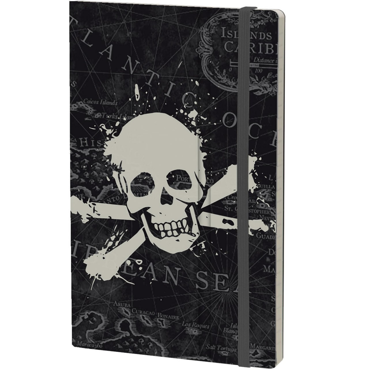 Stifflexible Notizbuch HISTORICAL NOTES 13 x 21 cm 192 S., Pocket/Bookmark, Elastic closure, JOLLY ROGER (Pirate Flag)