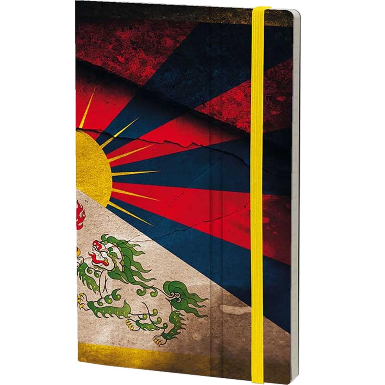 Stifflexible Notizbuch HISTORICAL NOTES 13 x 21 cm 192 S., FREE TIBET (Tibet Flag)