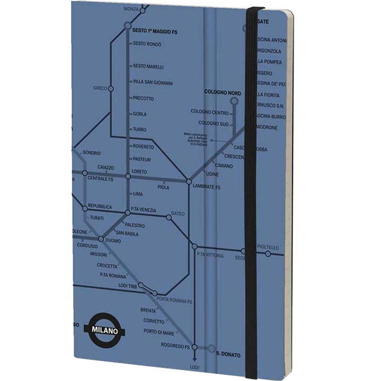 Stifflexible Notizbuch UNDERGROUND 9 x 14 cm 144 S., BLUE  (Milan)