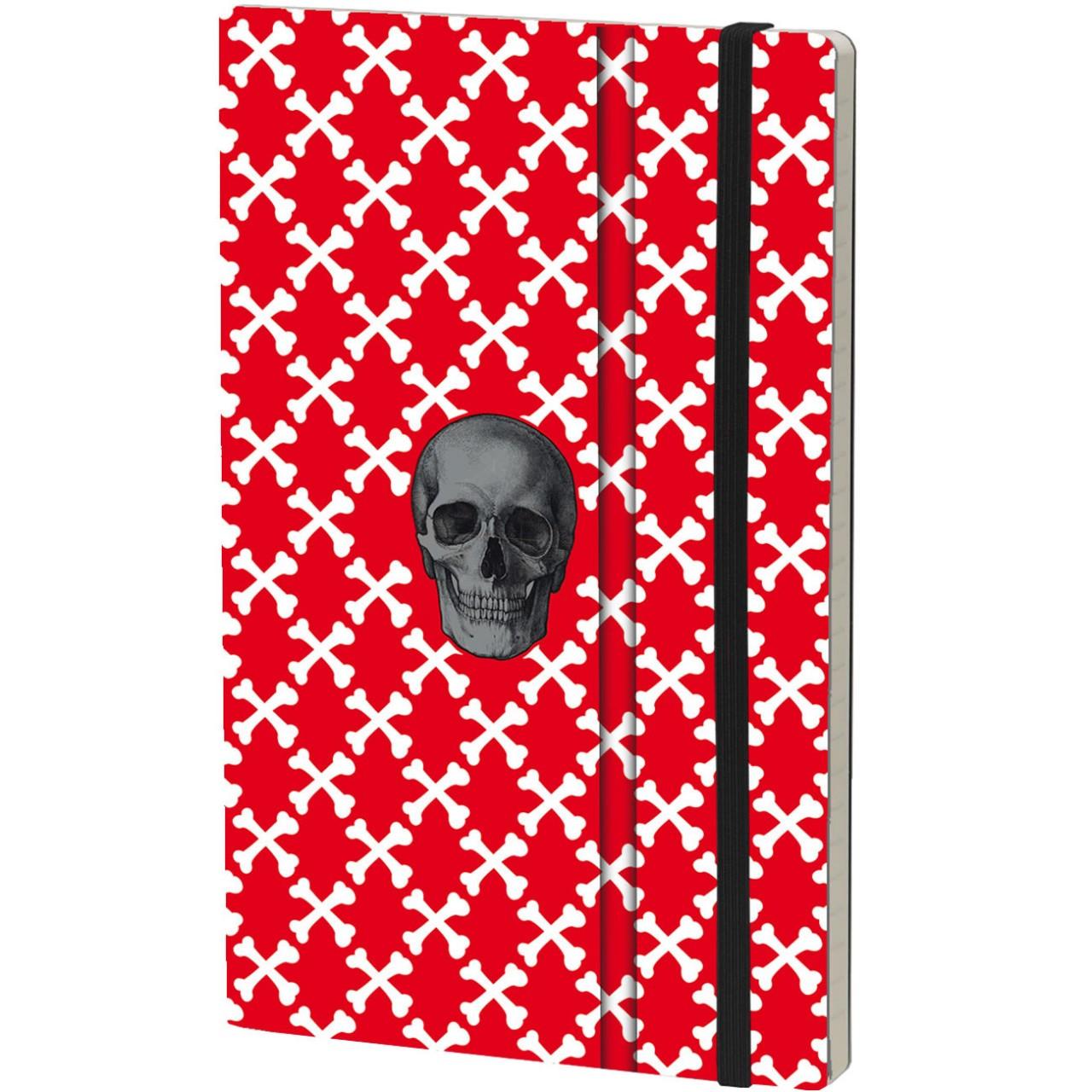 Stifflexible Notizbuch SKULL 13 x 21 cm 192 S., RED