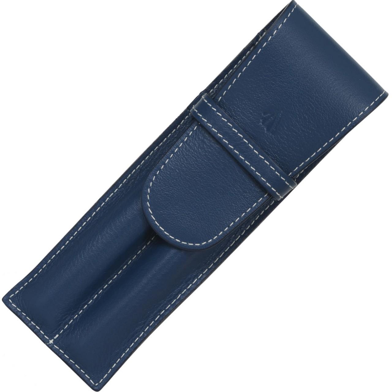 LARGE SOFT PEN POUCH W/FLAP 2P * RIVIERA BLUE