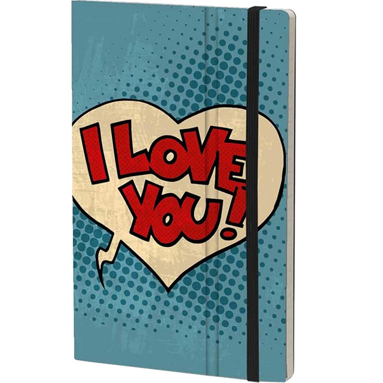 Stifflexible Notizbuch POP 13 x 21 cm 192 S., I LOVE YOU
