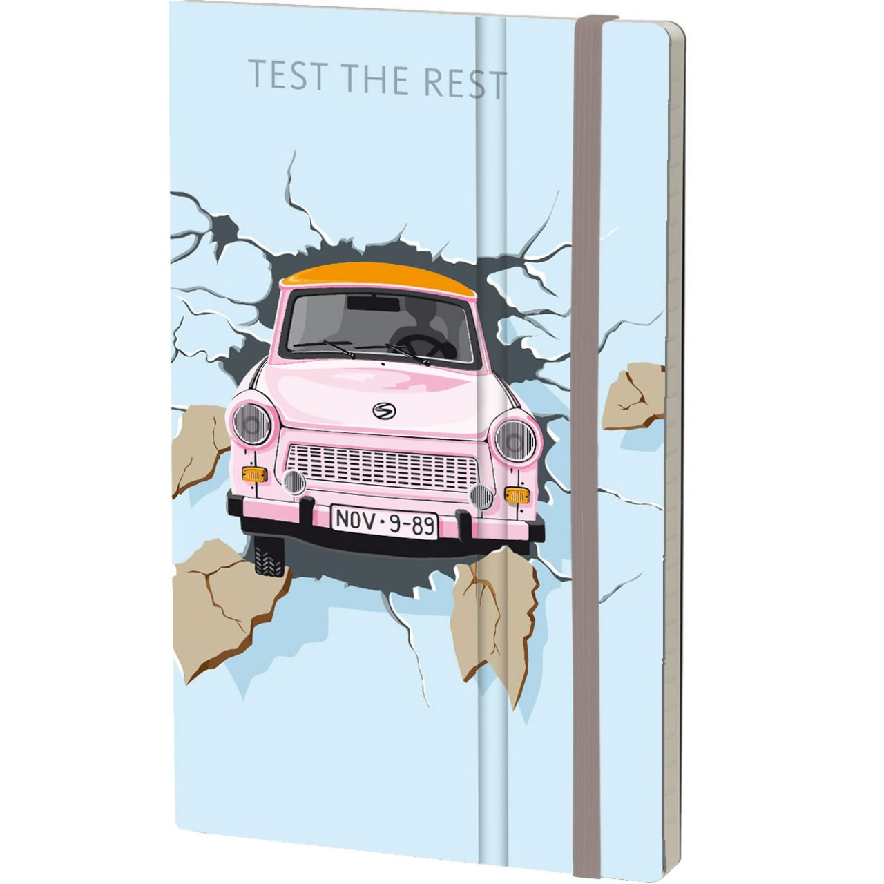 Stifflex Notizbuch THE WALL 9 x 14 cm 144 S., TEST THE REST - BLUE