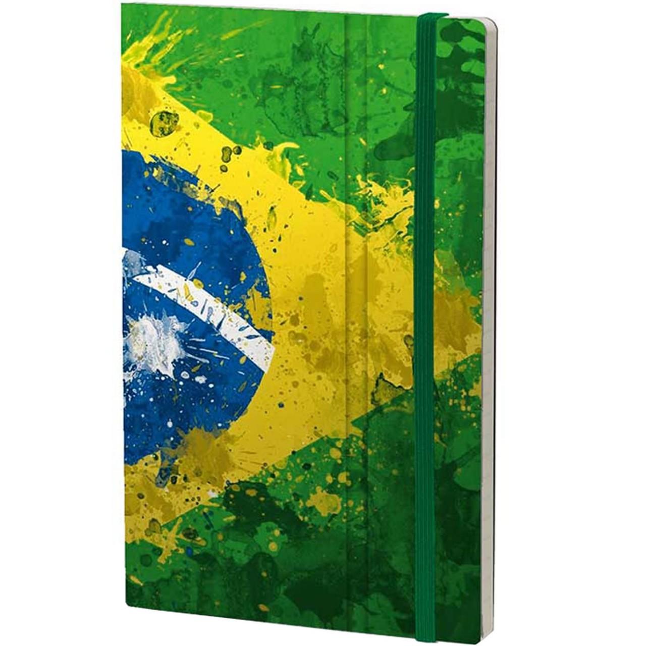 Stifflexible Notizbuch HISTORICAL NOTES 13 x 21 cm 192 S., BRASIL 10 (Brasil Flag)