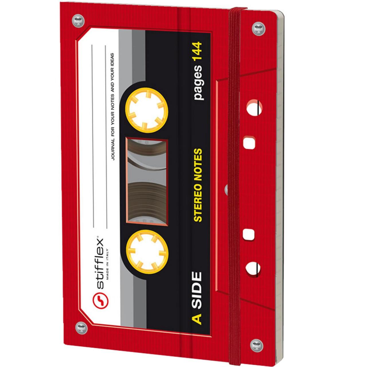 Stifflex Notizbuch MUSICASSETTE 9 x 14 cm 144 S.,  RED TAPE