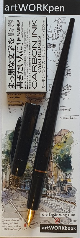 Platinum artWORKpen Füllhalter EF + 4 Patronen Carbon schwarz