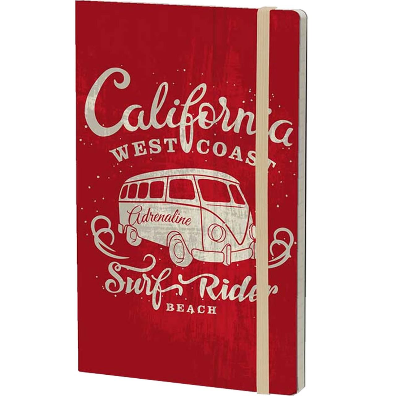 Stifflexible Notizbuch VINTAGE SURFING (California) 13 x 21 cm 192 S., RED