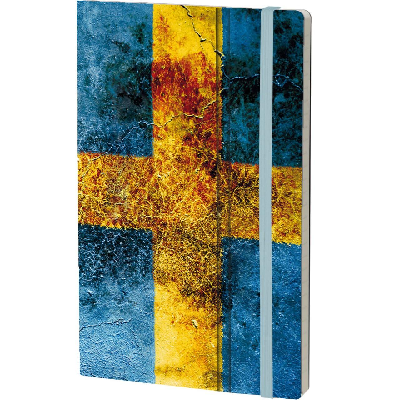 Stifflexible Notizbuch HISTORICAL NOTES 13 x 21 cm 192 S., DU GAMLA, DU FRIA (Sweden Flag)