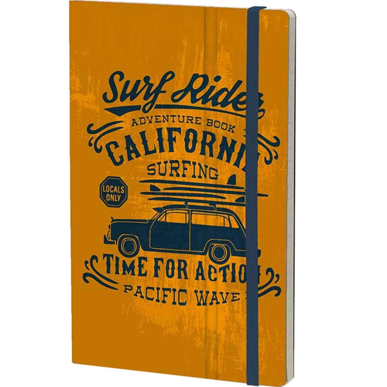 Stifflexible Notizbuch VINTAGE SURFING (Adventure) 13 x 21 cm 192 S., ORANGE
