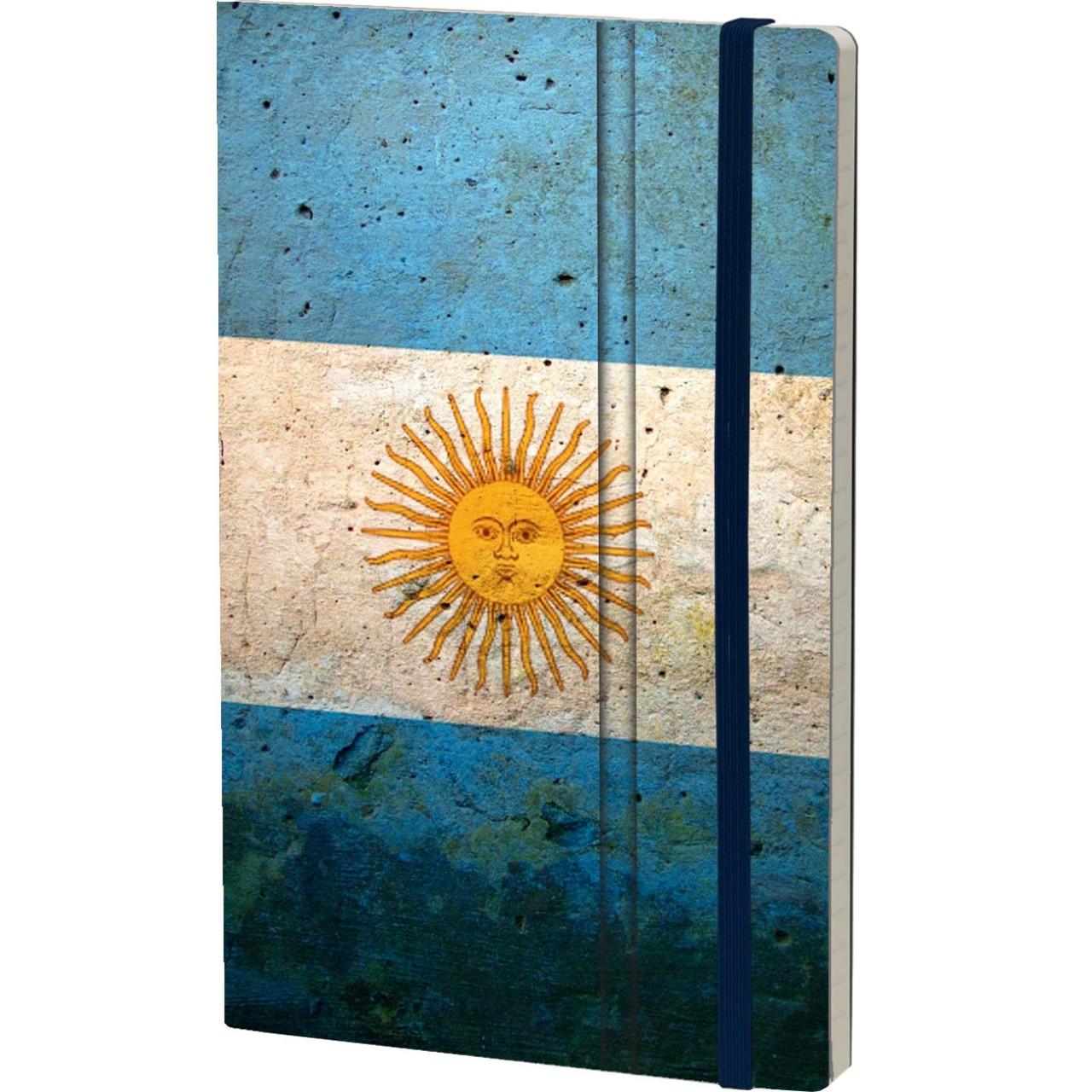 Stifflexible Notizbuch HISTORICAL NOTES 13 x 21 cm 192 S., VAMOS, VAMOS ARGENTINA (Argentina Flag)