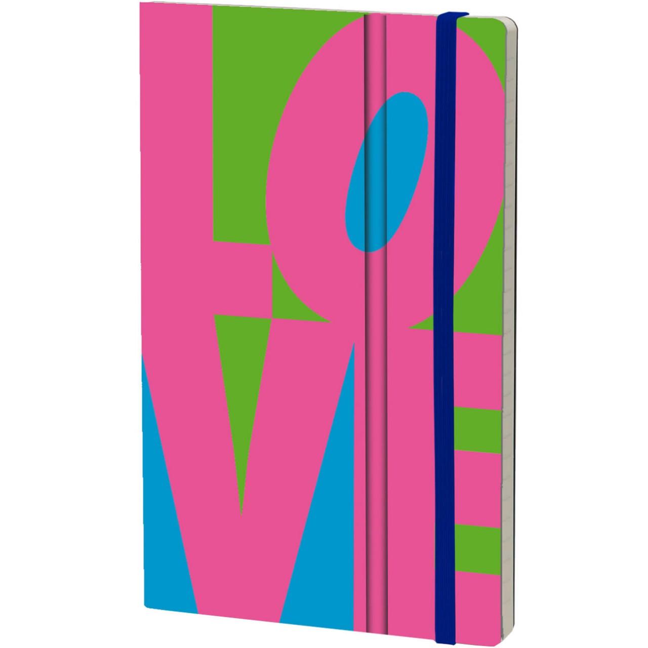 Stifflexible Notizbuch FLUO LOVE 13 x 21 cm 192 S., FUCHSIA