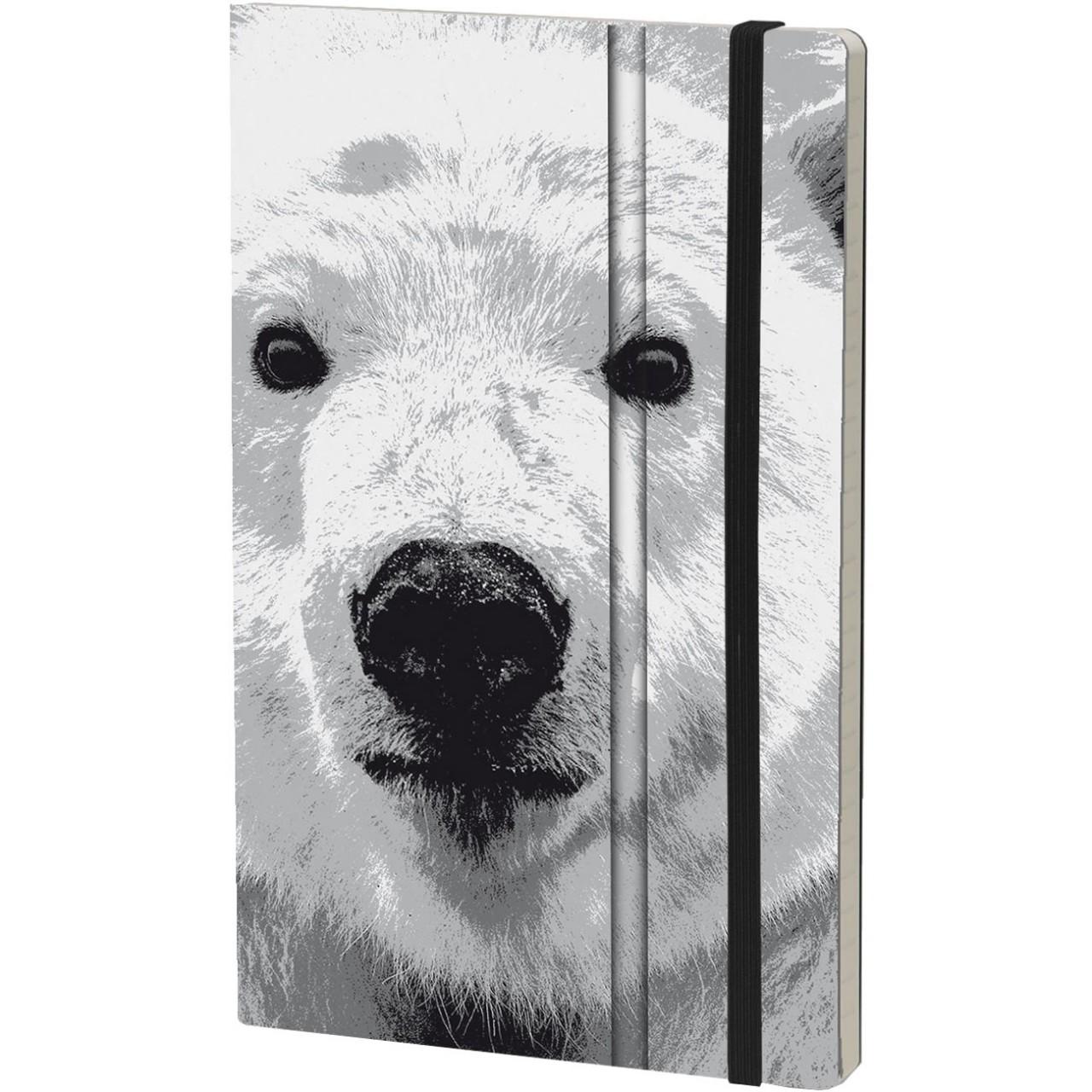 Stifflexible Notizbuch WILD PEARL 13 x 21 cm 192 S., POLAR BEAR