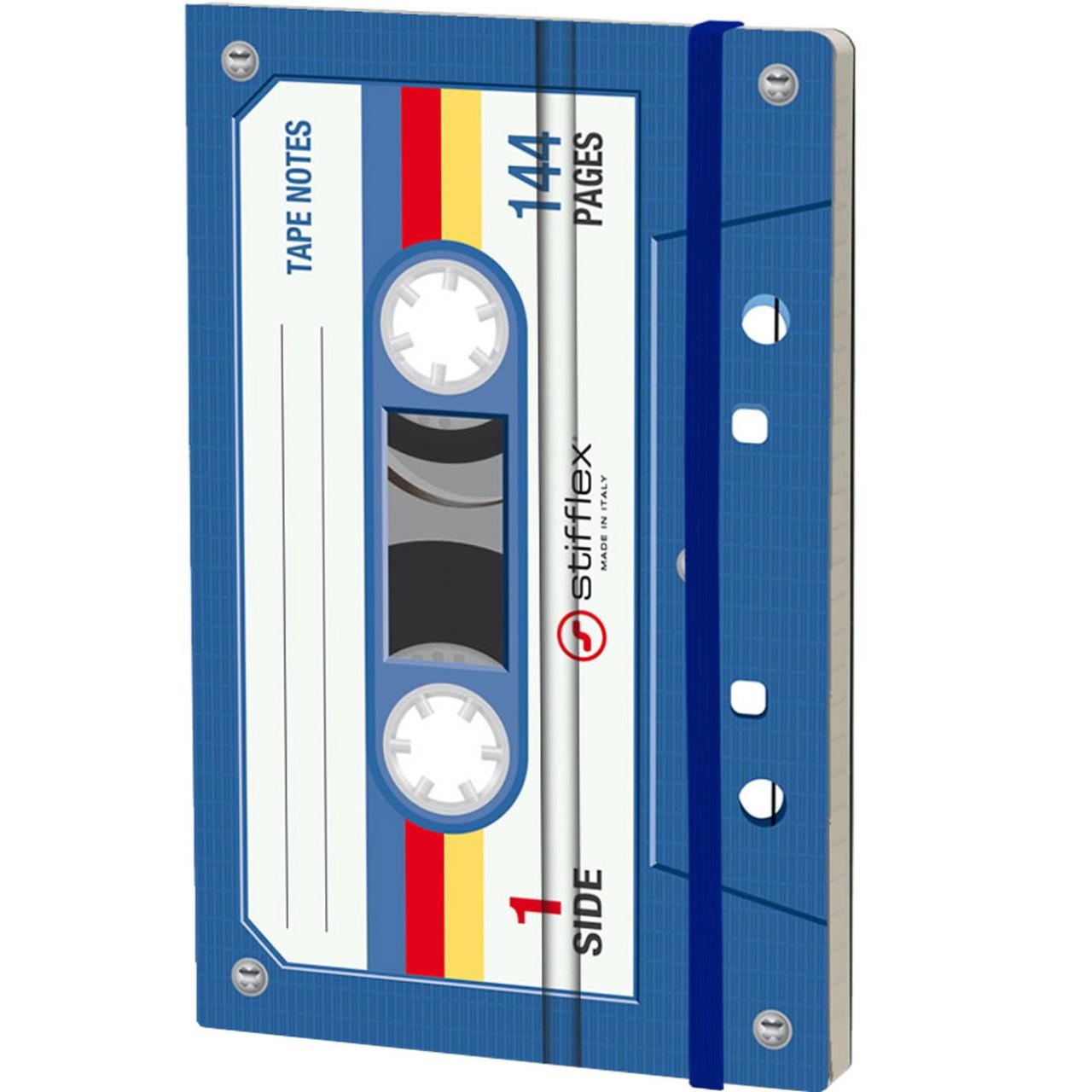 Stifflex Notizbuch MUSICASSETTE 9 x 14 cm 144 S.,  BLUE TAPE