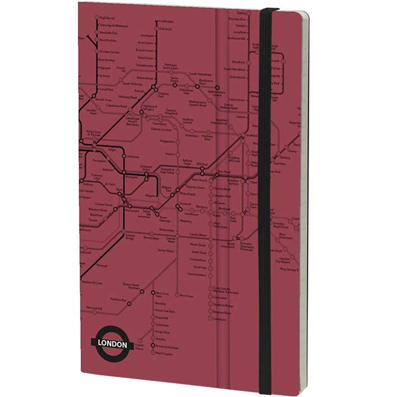 Stifflexible Notizbuch UNDERGROUND 19 x 25 cm 192 S., RED (Londres)